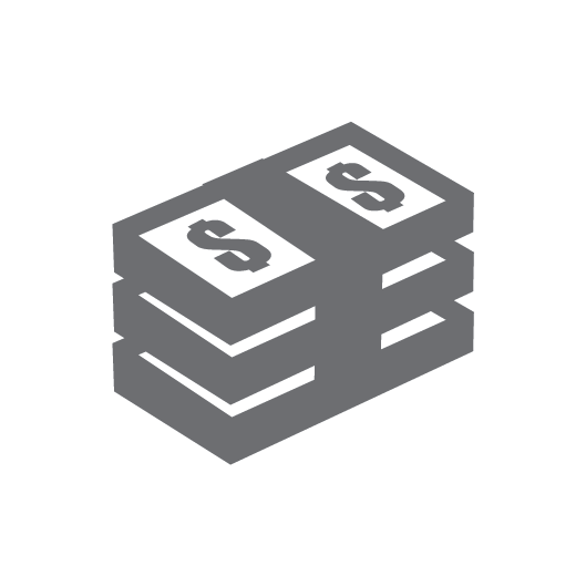 money icon in grey to show that maintenance means lower long term costs
